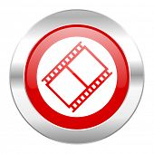 film red circle chrome web icon isolated