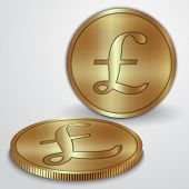 Vector illustration of gold coins with GBP pound currency sign