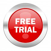 free trial red circle chrome web icon isolated