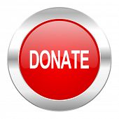 donate red circle chrome web icon isolated