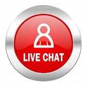 live chat red circle chrome web icon isolated