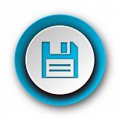 disk blue modern web icon on white background