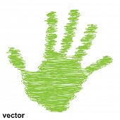Vector conceptual green painted drawing hand shape print or scribble isolated on white paper background