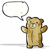 cartoon teddy bear with speech bubble