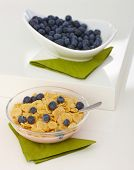 Bowl of breakfast cereal with blueberry placed on white tabletop.