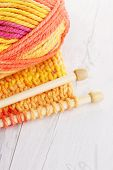 close-ups of needle and wool - needlecraft