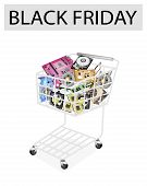 Set Of Hardware Computer In Black Friday Shopping Cart
