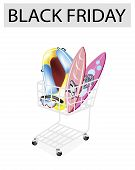 Inflatable Boat and Surfboards in Black Friday Shopping Cart