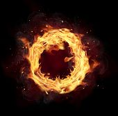 Fire circle with free space for text. isolated on black background