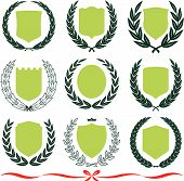 Vector shields and laurel wreaths set