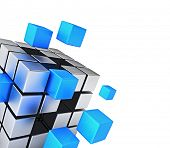 Business teamwork internet communication concept - cubes assembling into metal cubic structure isola