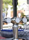 Beer Taps At The Restaurant.