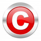 copyright red circle chrome web icon isolated