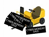 A Forklift Truck Loading Cyber Monday Card