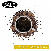 A Cup of Coffee with Cyber Monday Sale Word