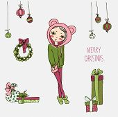 picture of christmas angel  - Cute Christmas card in vector - JPG