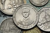 Coins of Thailand. King Bhumibol Adulyadej of Thailand depicted in the Thai baht coins.