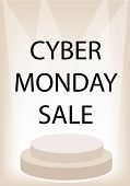 Cyber Monday Promotion on Brown Retro Stage