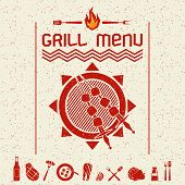 Grill Menu Emblem  And Icons Dark Red