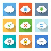 Flat Cloud Icons. Vector Illustration