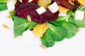 Beet salad with feta cheese and orange.