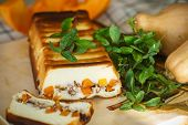 Cottage Cheese Casserole With Slices Of Pumpkin And Nuts