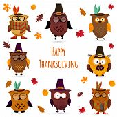 Thanksgiving Day  cute owl set