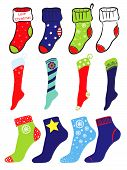 Set of socks on Christmas, New Year's and American Flag theme