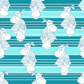 Hippo background. Seamless vector pattern with baby hippo.