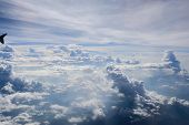aerial view of the sky with clouds from jet flight