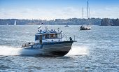 Fast Water Police Motor Boat With Policemen. Helsinki, Finland