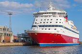 Red And White Viking Line Ferry Is Moored In Port