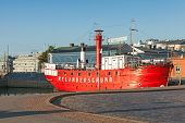 Historic Red Relandersgrund Lightship In Helsinki, Finland