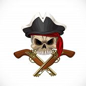 Jolly Roger in pirat hat and with pistols