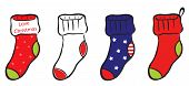 Set of Christmas, Winter and America pattern socks