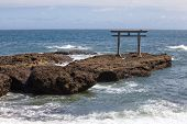 Beautiful Japan landscape of traditional Japanese gate and sea from Oarai Isosaki Shrine