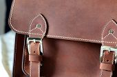 Close Up Of Brown Vintage Leather Briefcase