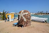 EL GOUNA, EGYPT - MARCH 14, 2014: Starfish - symbol of El Gouna on shuttle boat in Egypt