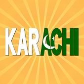 Karachi flag text with sunburst illustration