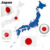 Japan set. Detailed country shape with region borders, flags and icons isolated on white background.