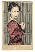 Portrait Of Beautiful Medieval Woman In Old Photo Frame
