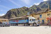 OLLANTAYTAMBO, PERU, MAY 4, 2014 - big lorry at Plaza de Armas