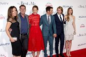 LOS ANGELES - OCT 7:  Denise Di Novi, Nicholas Sparks, M Monaghan, J Marsden, Luke Bracey, Liana Liberato at the