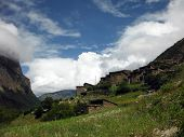 pic of nepali  - Residential buildings of the old village Upper Pisang in the Nepali Annapurna Himalayas - JPG