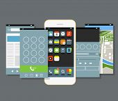 Modern smartphone with different application screens. Design elements