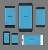 Different modern smartphone resolutions set. Design elements