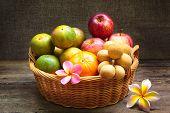Still Life, Fruit In Bamboo Basket.