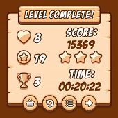 Game wood level complete icons buttons