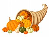 Autumn cornucopia (horn of plenty) with pumpkins. Vector illustration.
