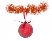 red christmas ball on tinsel isolated on white background